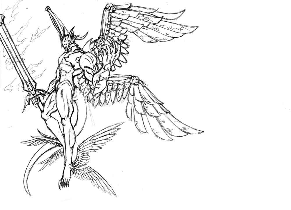 十二翼堕天使图片_金属六翼堕天使图片; 堕天使; 纹身十二翼天使图案